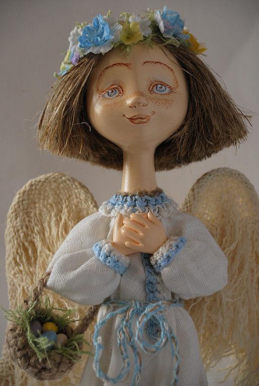 """Сказочные персонажи ручной работы. Ярмарка Мастеров - ручная работа. Купить """"Весенний ангел""""- ангел с веночком. Handmade. Кукла"""