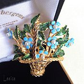 Винтаж handmade. Livemaster - original item Vintage brooch forget-me-nots in a basket USA 70 years.. Handmade.