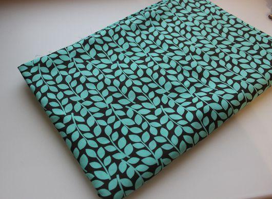 Шитье ручной работы. Ярмарка Мастеров - ручная работа. Купить Ткань Бирюзовые листья. Handmade. Тёмно-бирюзовый, ткань с узором