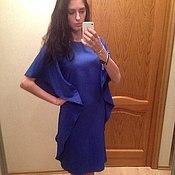 Одежда ручной работы. Ярмарка Мастеров - ручная работа Коктейльное кобальтовое платье. Handmade.