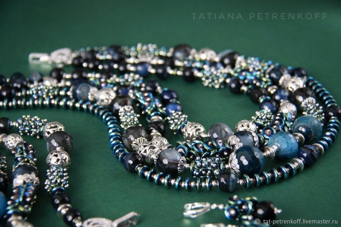 Necklace 'Scheherazade' 'Arabian night' - agate with quartz., hematite, silver, Necklace, Moscow,  Фото №1