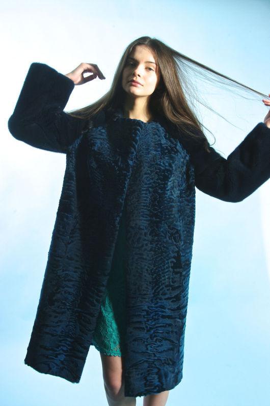 """Верхняя одежда ручной работы. Ярмарка Мастеров - ручная работа. Купить Шуба """"Морская волна каракульча+норка"""". Handmade. Морская волна"""