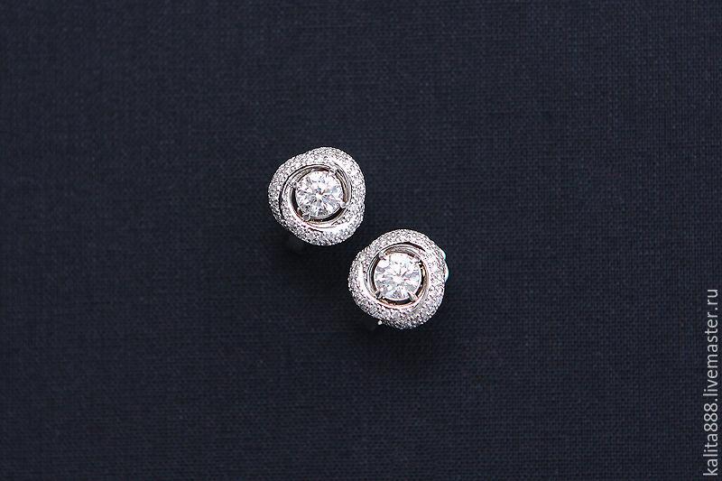 Серьги c бриллиантами белое золото, Серьги, Москва, Фото №1