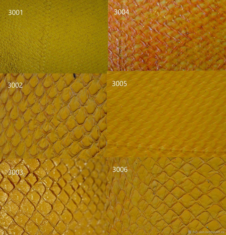 Предлагаем рыбью кожу желтых оттенков. Представлены образцы кожи кеты и сёмги, глянцевая плотная и волокнистая мягкая.