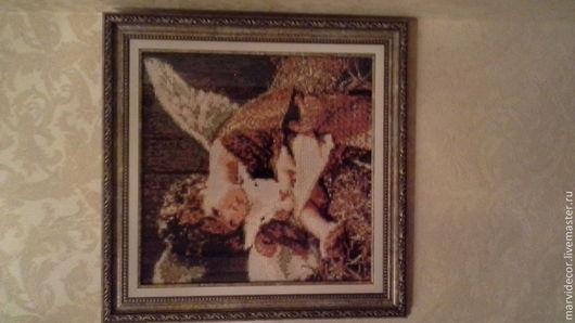 Люди, ручной работы. Ярмарка Мастеров - ручная работа. Купить Ангел с овечкой. Handmade. Разноцветный, алмазная техника, алмазная мозаика