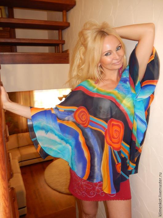 Блузки ручной работы. Ярмарка Мастеров - ручная работа. Купить Блуза круглая Завораживающая. Handmade. Бирюзовый, блузка, нарядная блузка