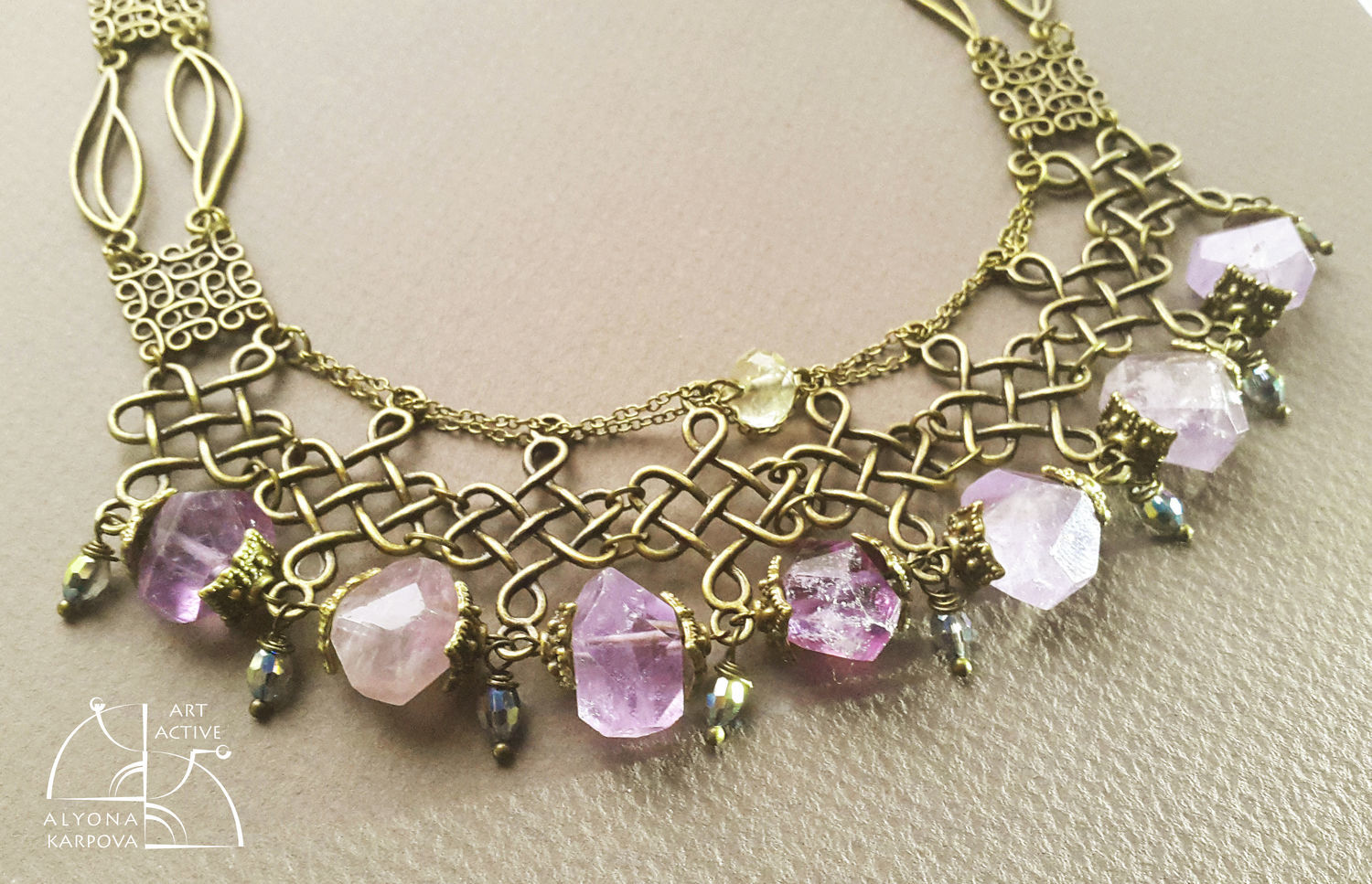 Amethyst art Nouveau. Necklace with natural amethysts long earrings, Jewelry Sets, St. Petersburg,  Фото №1