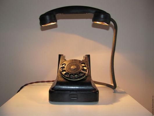 Освещение ручной работы. Ярмарка Мастеров - ручная работа. Купить Телефон, излучающий свет. Handmade. Черный, лампа, свет, бакелит