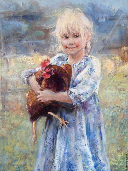 """Люди, ручной работы. Ярмарка Мастеров - ручная работа. Купить Картина """"Девочка с петухом"""".. Handmade. Комбинированный, живопись маслом, детство"""