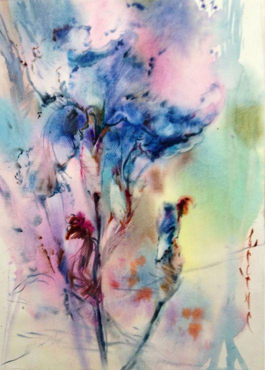 Картины цветов ручной работы. Ярмарка Мастеров - ручная работа. Купить Акварель голубой ирис. Handmade. Ирис, нежность, абстрактный