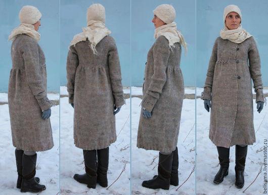 """Верхняя одежда ручной работы. Ярмарка Мастеров - ручная работа. Купить Пальто бохо из войлока """"Зимняя фантазия"""". Handmade. Серый"""