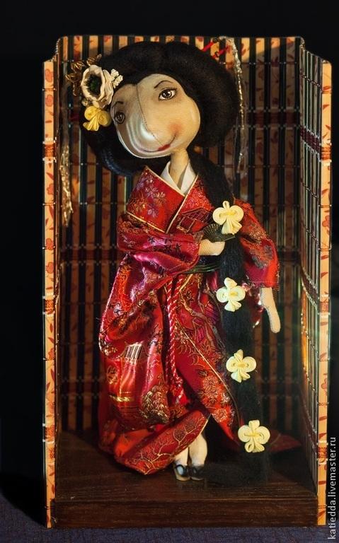 Куклы тыквоголовки ручной работы. Ярмарка Мастеров - ручная работа. Купить Авторская текстильная  кукла Гейша. Handmade.