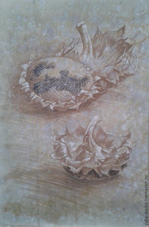 Натюрморт ручной работы. Ярмарка Мастеров - ручная работа. Купить подсолнухи. графика. Handmade. Серый, белый, натюрморт, деревенский натюрморт