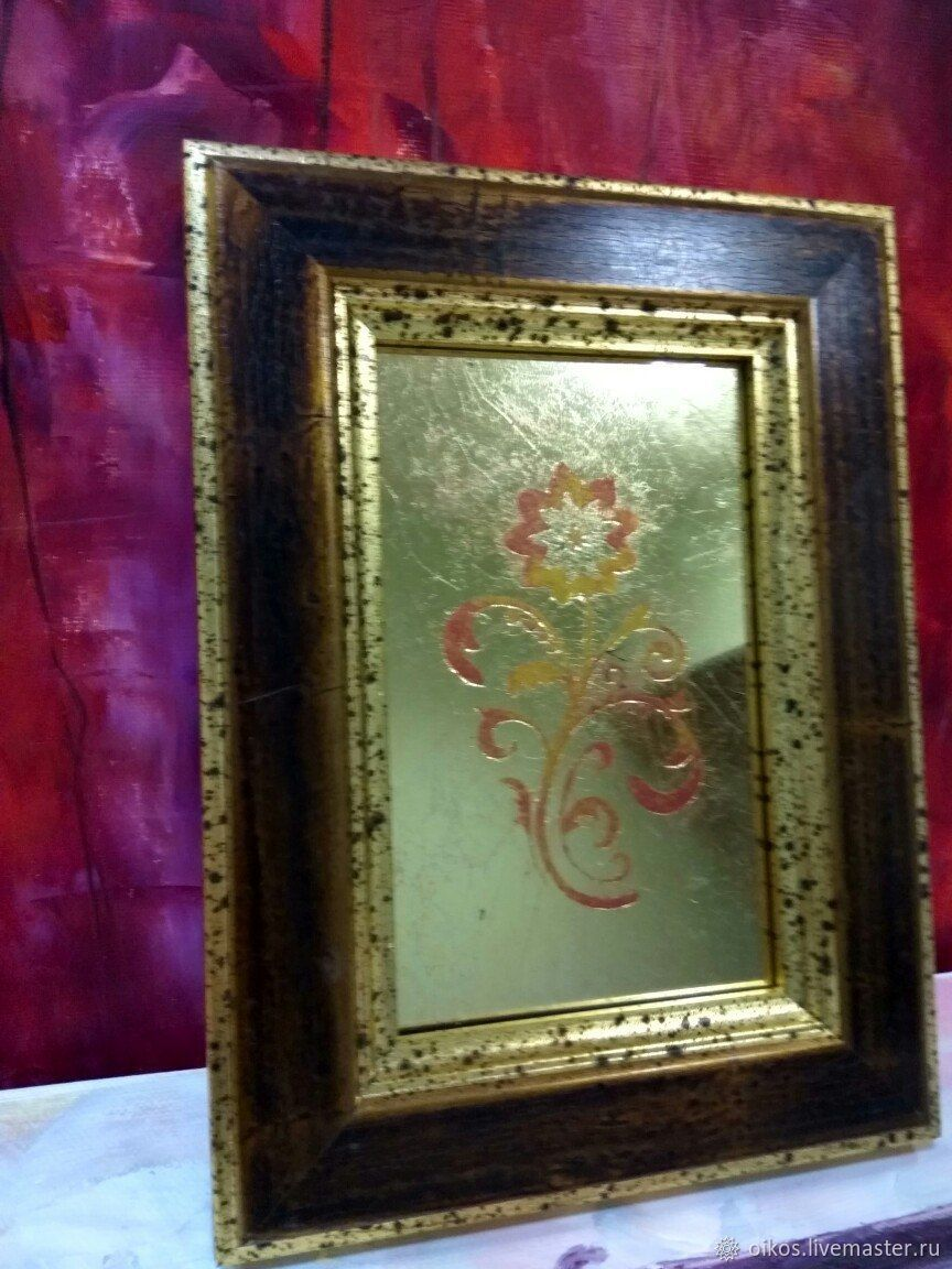 Murals on glass with flower gold red Russian style, Pictures, St. Petersburg,  Фото №1