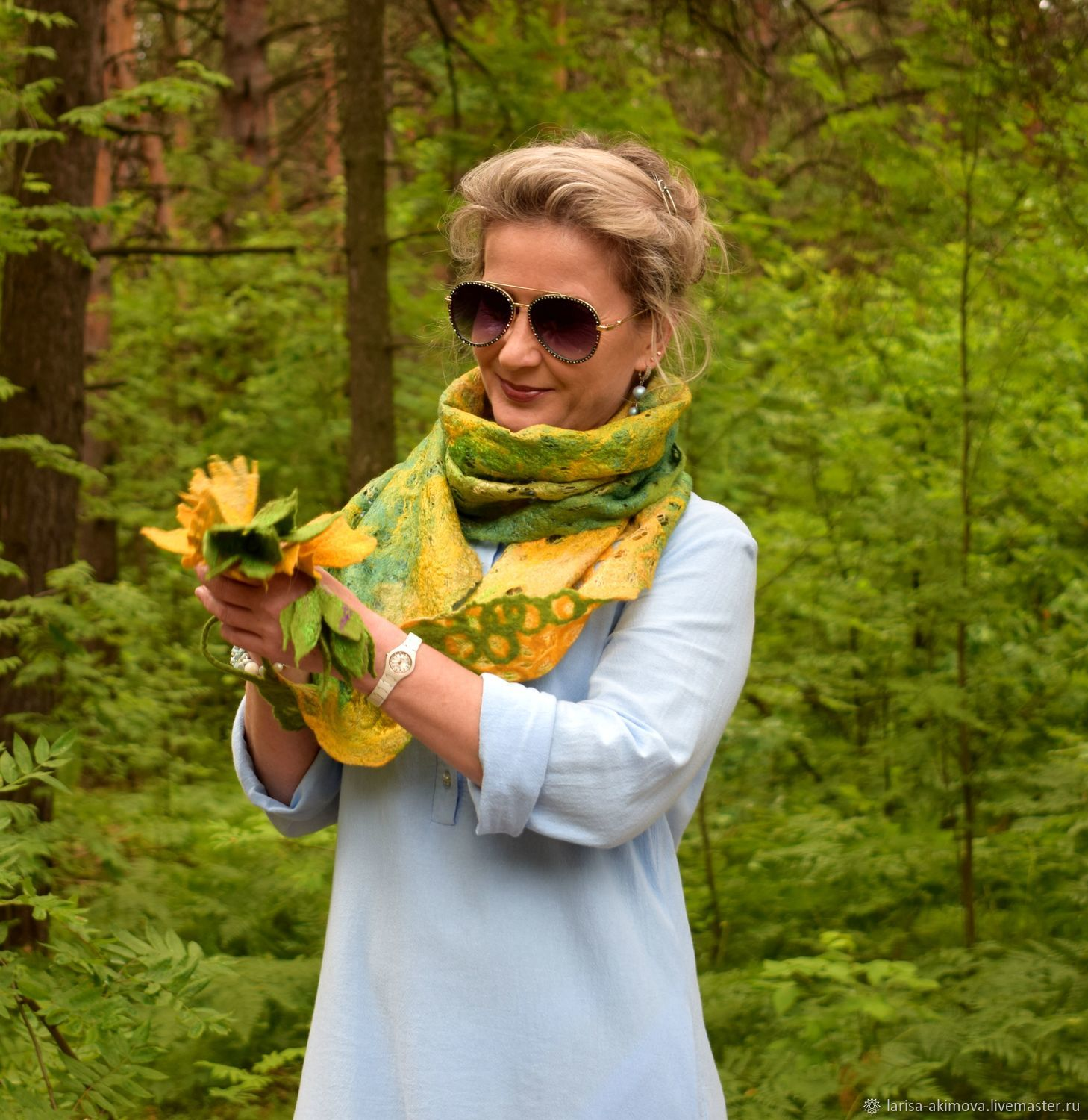 Dandelion time felted scarf, air light yellow green scarf, Scarves, Berdsk,  Фото №1