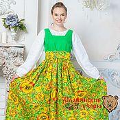 """Одежда ручной работы. Ярмарка Мастеров - ручная работа Сарафан """"Любава"""" яркая зелень. Handmade."""