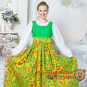 Одежда handmade. Livemaster - original item Sundress Lyubava bright green. Handmade.