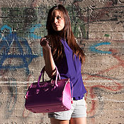 Сумки и аксессуары handmade. Livemaster - original item Women`s pink handmade Buffalo leather bag with embossed design. Handmade.