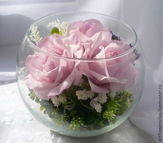 Цветы ручной работы. Ярмарка Мастеров - ручная работа. Купить Розы в стекле (полимерная глина). Handmade. Розовый, розовые розы