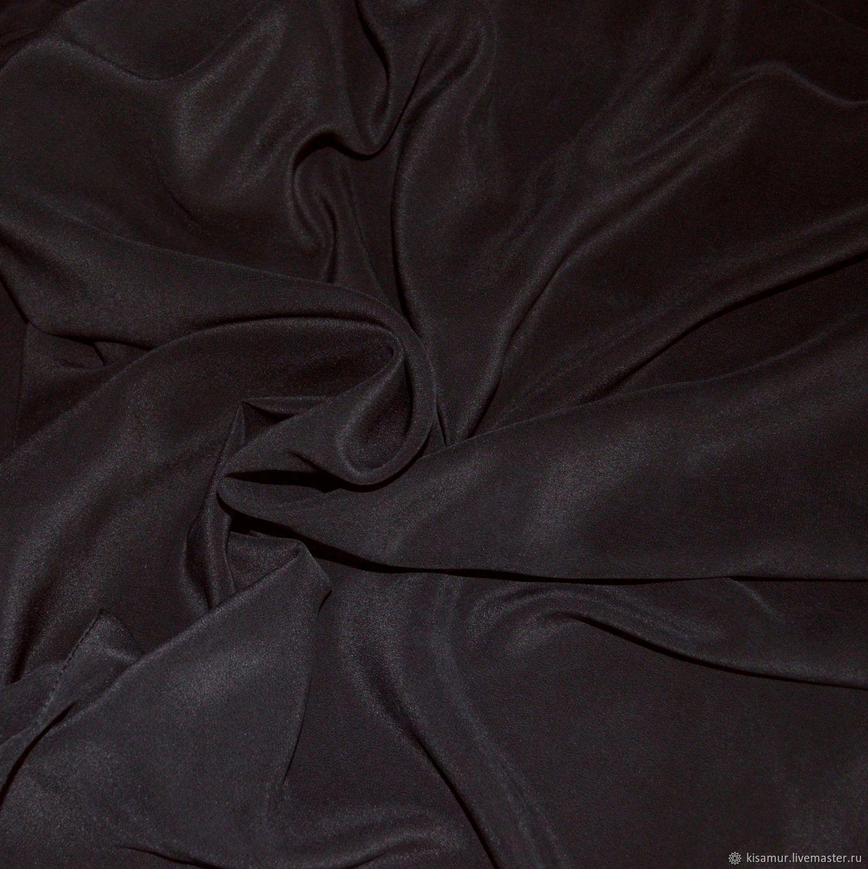 Black silk handkerchief crepe de Chine large neck scarf, Shawls1, Vyazma,  Фото №1