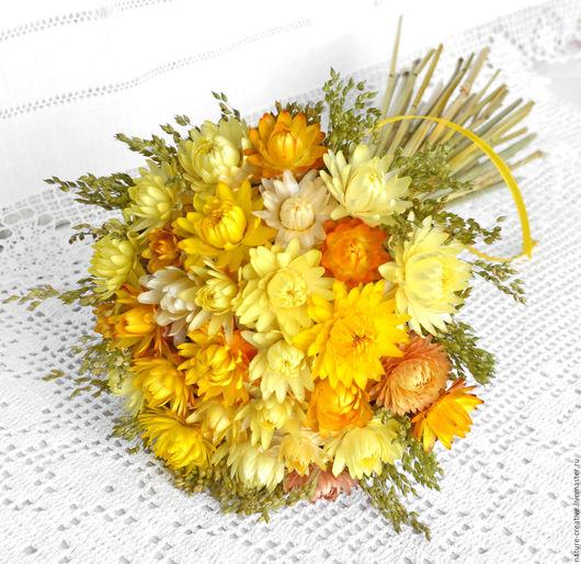 Букеты ручной работы. Ярмарка Мастеров - ручная работа. Купить «Медовый август» букет из сухоцветов. Handmade. Желтый, для декора