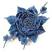 Украшения handmade. Livemaster - original item Dance Of The Roses. blue. brooch made of genuine leather.. Handmade.
