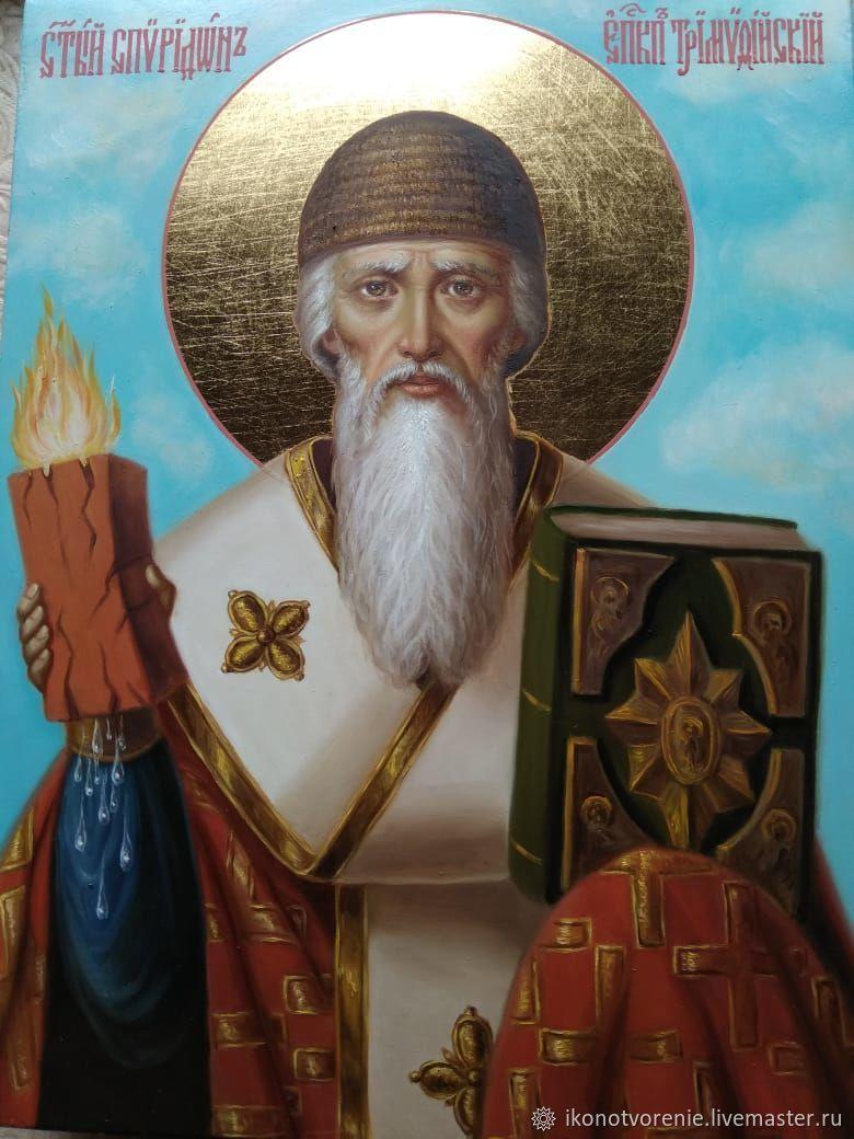 Спиридон Тримифунтский рукописная икона 18х24, Иконы, Москва,  Фото №1