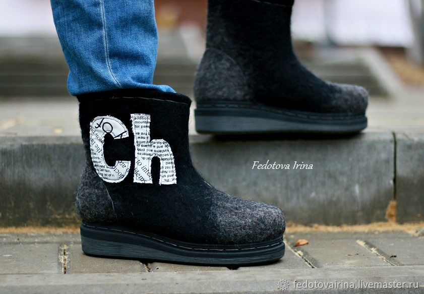 """Ботинки валяные """"Ch"""", Ботинки, Мценск,  Фото №1"""