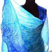 Аксессуары handmade. Livemaster - original item Silk scarf handpainted blue grey scarf natural silk gift mo. Handmade.
