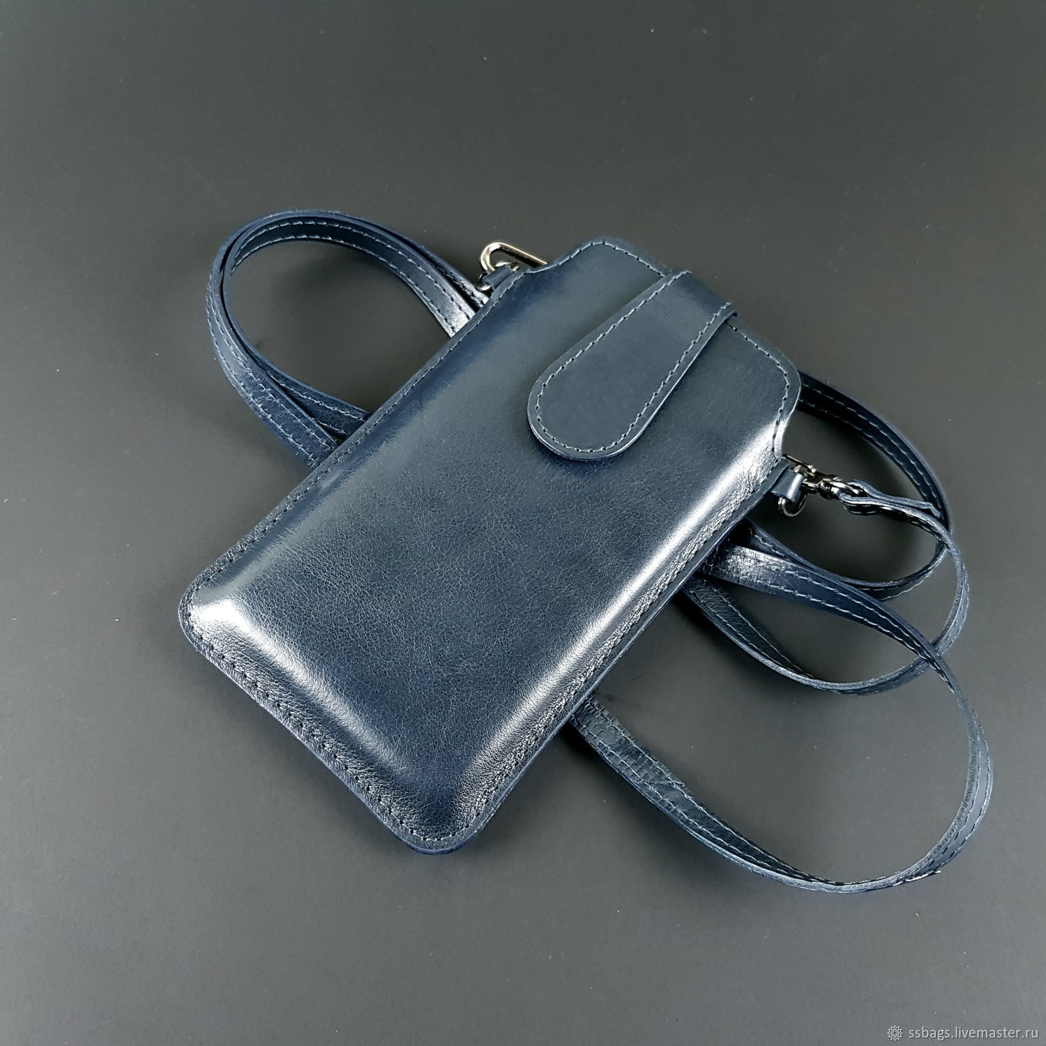 Phone case with wrist strap and pull tab genuine leather, Case, St. Petersburg,  Фото №1