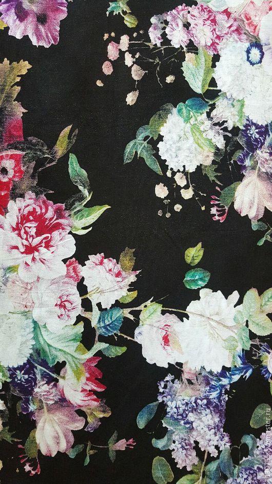 Шитье ручной работы. Ярмарка Мастеров - ручная работа. Купить Ткань штапель цветы на черном 0.11. Handmade. Комбинированный
