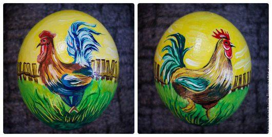 """Яйца ручной работы. Ярмарка Мастеров - ручная работа. Купить Расписное страусиное яйцо  """"Петушок"""". Handmade. Петушок, страусиное яйцо"""