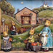 """Картины и панно ручной работы. Ярмарка Мастеров - ручная работа """"Bless this home"""", дерево и папье-маше. Handmade."""