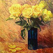 Картины и панно ручной работы. Ярмарка Мастеров - ручная работа Желтые розы, натюрморт маслом, 30х40см. Handmade.