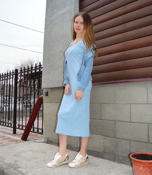 Платья ручной работы. Ярмарка Мастеров - ручная работа. Купить Платье из трикотажа лапша, хлопок (100%). Handmade. Платье миди