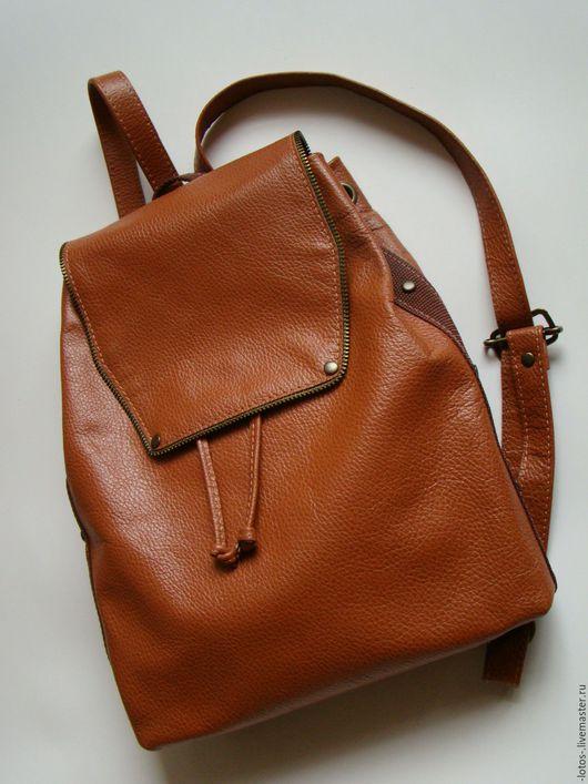 Рюкзаки ручной работы. Ярмарка Мастеров - ручная работа. Купить Рюкзак кожаный. Handmade. Рыжий, рюкзачок, кожаный рюкзак
