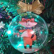 """Елочные игрушки ручной работы. Ярмарка Мастеров - ручная работа Елочные игрушки: шар новогодний """"Лисёнок. Handmade."""
