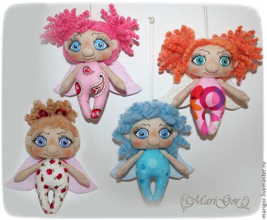Коллекционные куклы ручной работы. Ярмарка Мастеров - ручная работа. Купить Забавные ангелочки. Handmade. Ангел, текстильный ангел