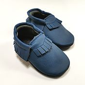 Одежда детская handmade. Livemaster - original item Blue Baby Moccasins, Leather Baby Shoes, Blue Moccs. Handmade.