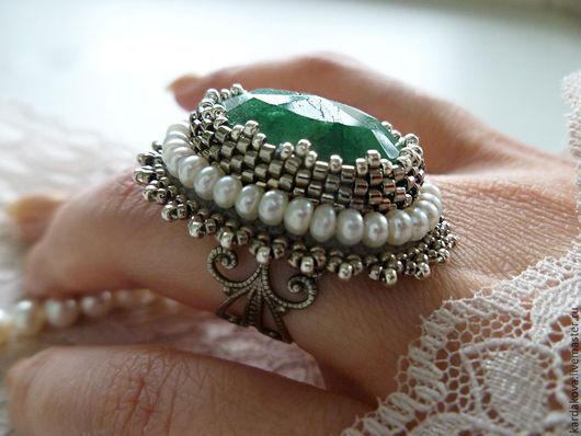 Кольца ручной работы. Ярмарка Мастеров - ручная работа. Купить Кольцо с бериллом и жемчугом. Handmade. Зеленый, кольцо с камнем