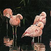 Картины и панно handmade. Livemaster - original item Oil painting Family Flamingo 100х130 cm. Handmade.