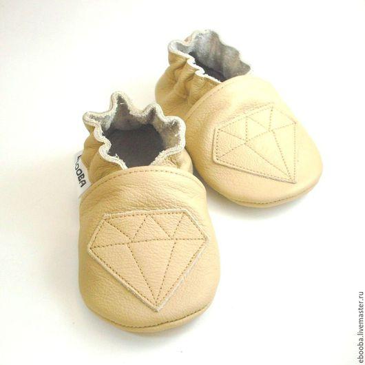Кожаные чешки тапочки пинетки кристалл бежевый на бежевом ebooba