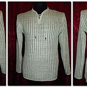 Одежда handmade. Livemaster - original item 100% linen men`s shirt embossed tracks with lacing.. Handmade.
