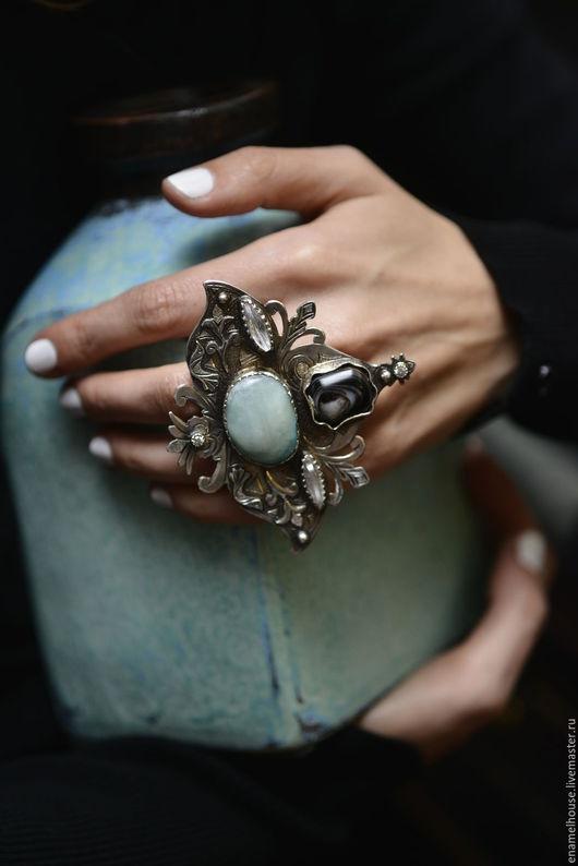 Кольца ручной работы. Ярмарка Мастеров - ручная работа. Купить Кольцо из горного хрусталя, голубого кварца и агата. Handmade. Комбинированный