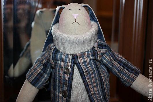 """Игрушки животные, ручной работы. Ярмарка Мастеров - ручная работа. Купить Заяц """"Антон"""". Handmade. Кукла, заяц, хлопок, халофайбер"""
