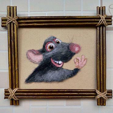 Картины и панно ручной работы. Ярмарка Мастеров - ручная работа Картина шерстью. Крыс Рататуй.. Handmade.