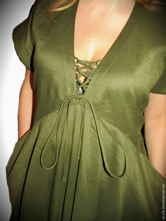 Платья ручной работы. Ярмарка Мастеров - ручная работа. Купить Платье ЛАДА. Handmade. Хаки, платье летнее из льна