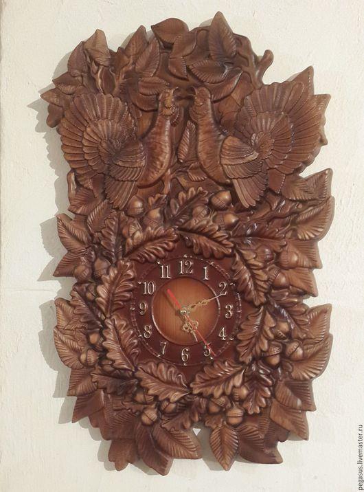 """Часы для дома ручной работы. Ярмарка Мастеров - ручная работа. Купить """"Два глухаря""""настенные часы.. Handmade. Часы настенные, глухарь"""