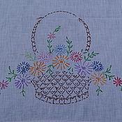 Винтаж handmade. Livemaster - original item Large linen towel with embroidery. Handmade.