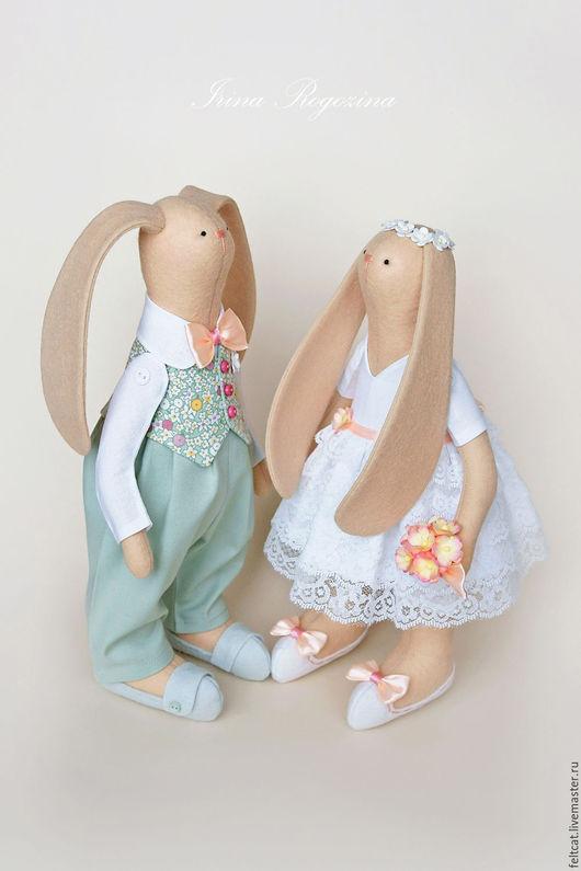 """Подарки на свадьбу ручной работы. Ярмарка Мастеров - ручная работа. Купить """"Весенний сад"""" свадебные зайцы в подарок на свадьбу. Handmade."""